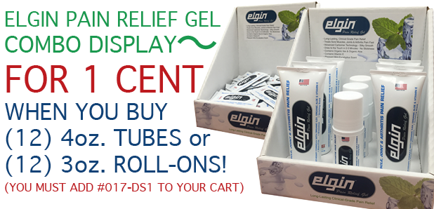 Elgin Pain Relief Gel Combo Display for Tubes, Roll-Ons & Pillow Packs